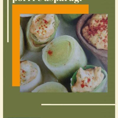 Cilindri di porri e crema di asparagi alla paprika