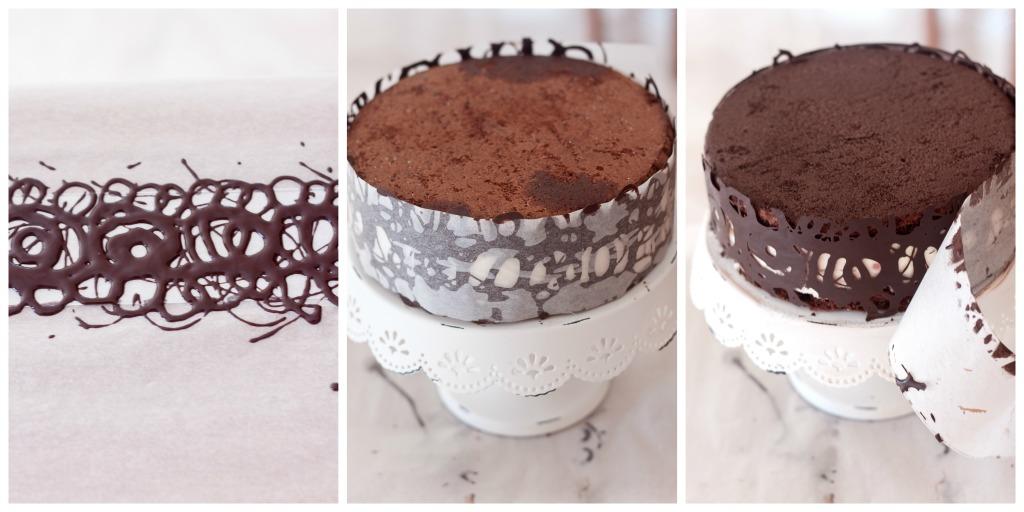 Torta al cioccolato con bavarese al cioccolato bianco e - Glassa a specchio su pan di spagna ...