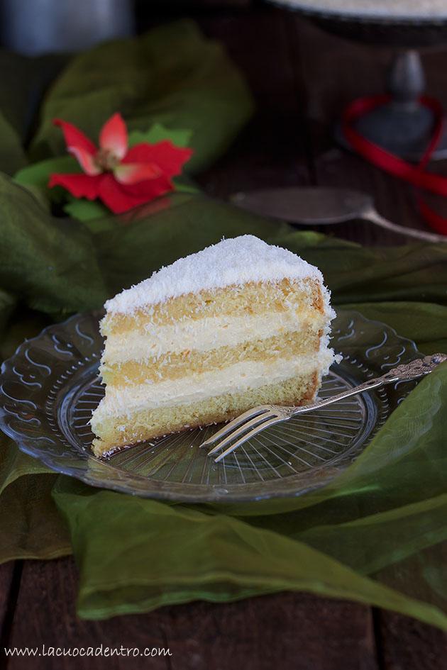 fetta torta cocco e arancia bianco natal