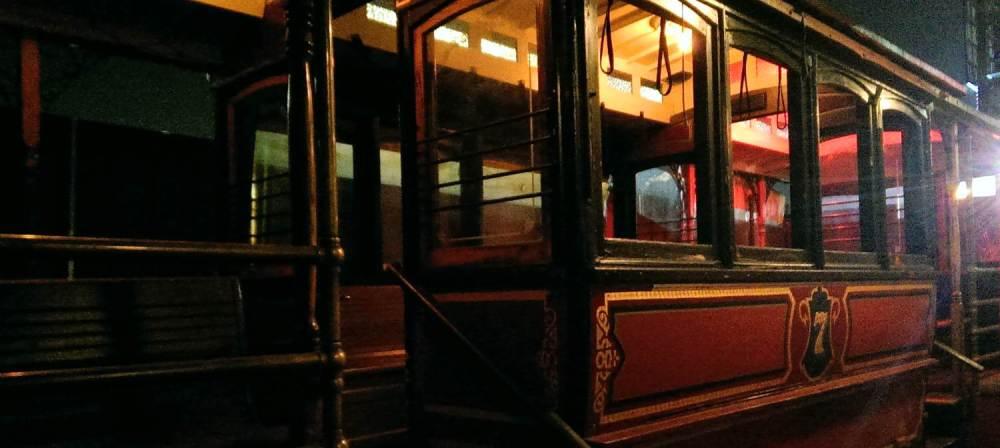 Vintage trolley car at Pour Vous