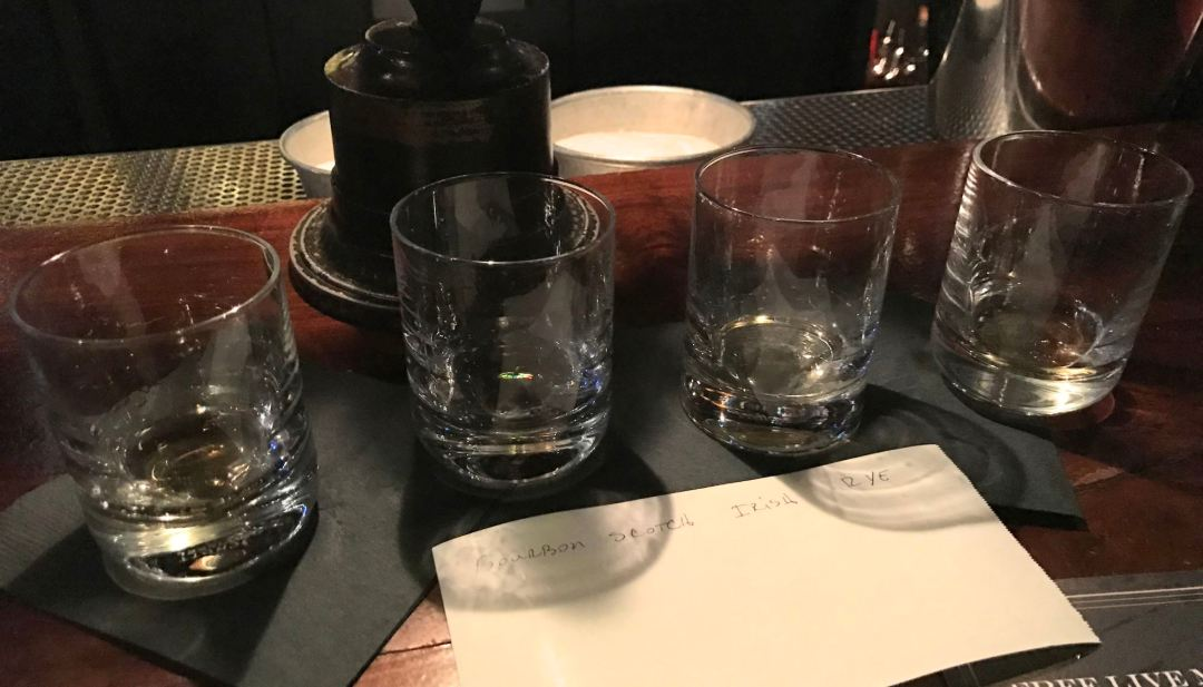 A flight of various Whiskeys at Seven Grand in Downtown LA