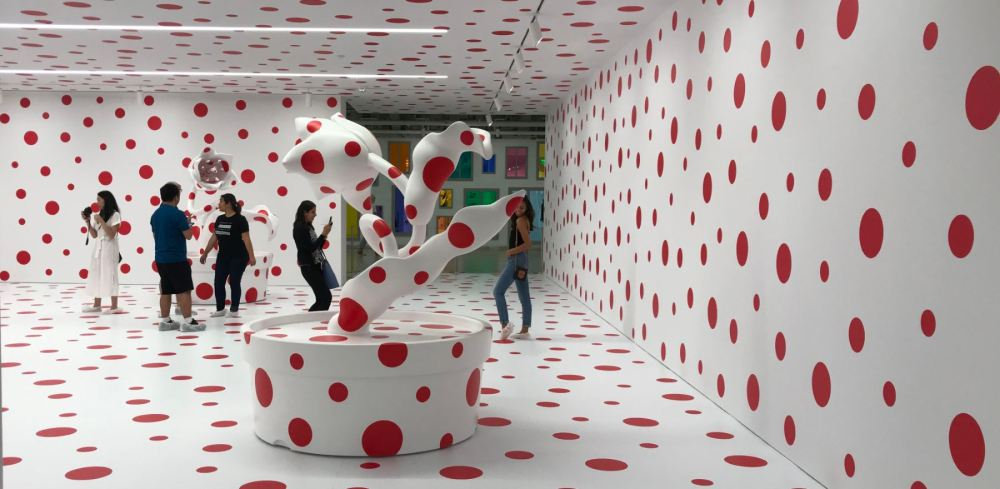 "Marciano Art Foundation exhibit by Yayoi Kusama, ""With All My Love for the Tulips, I Pray Forever, 2011"""