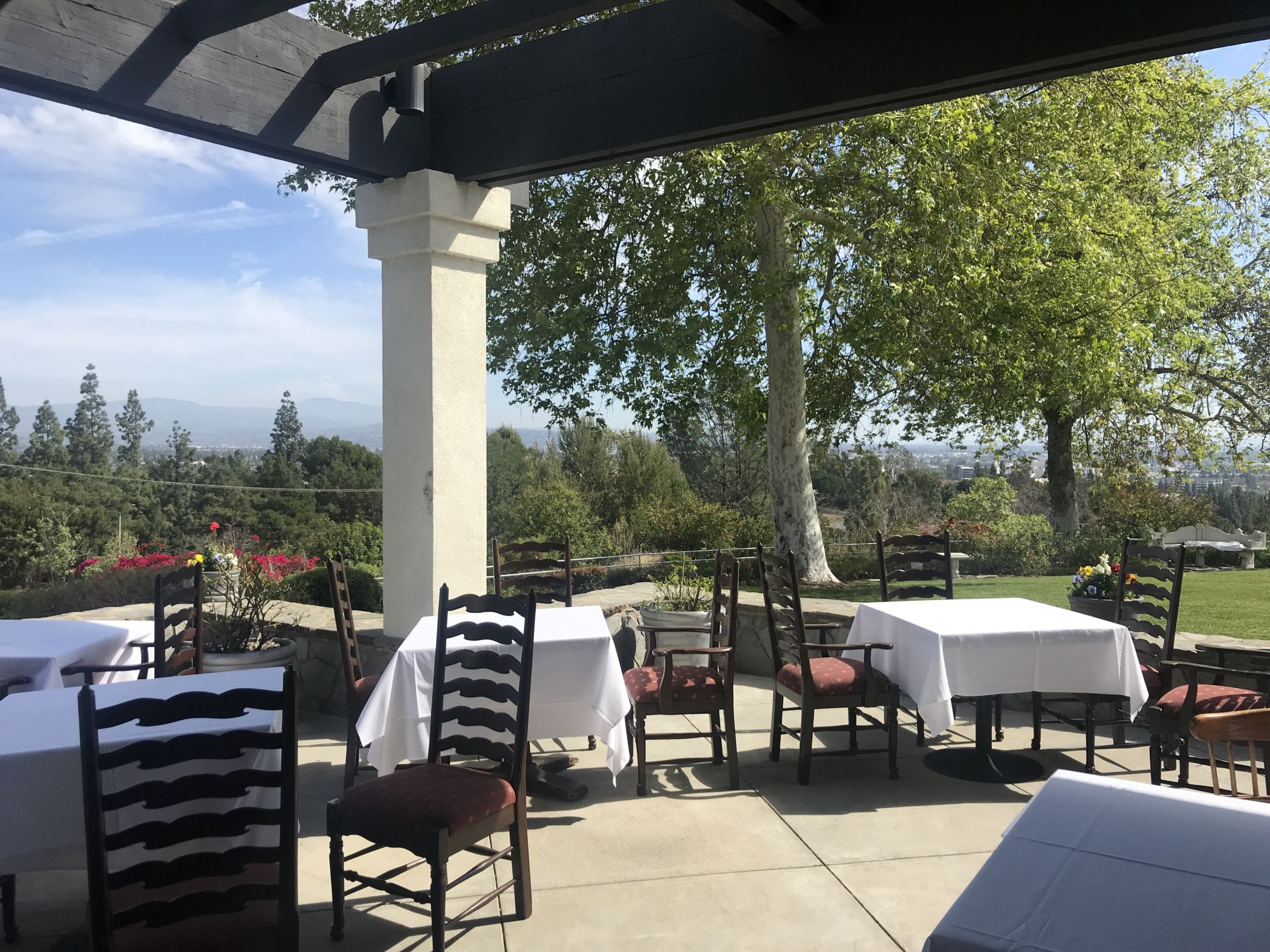 Outdoor seating at the Summit House Restaurant in Fullerton