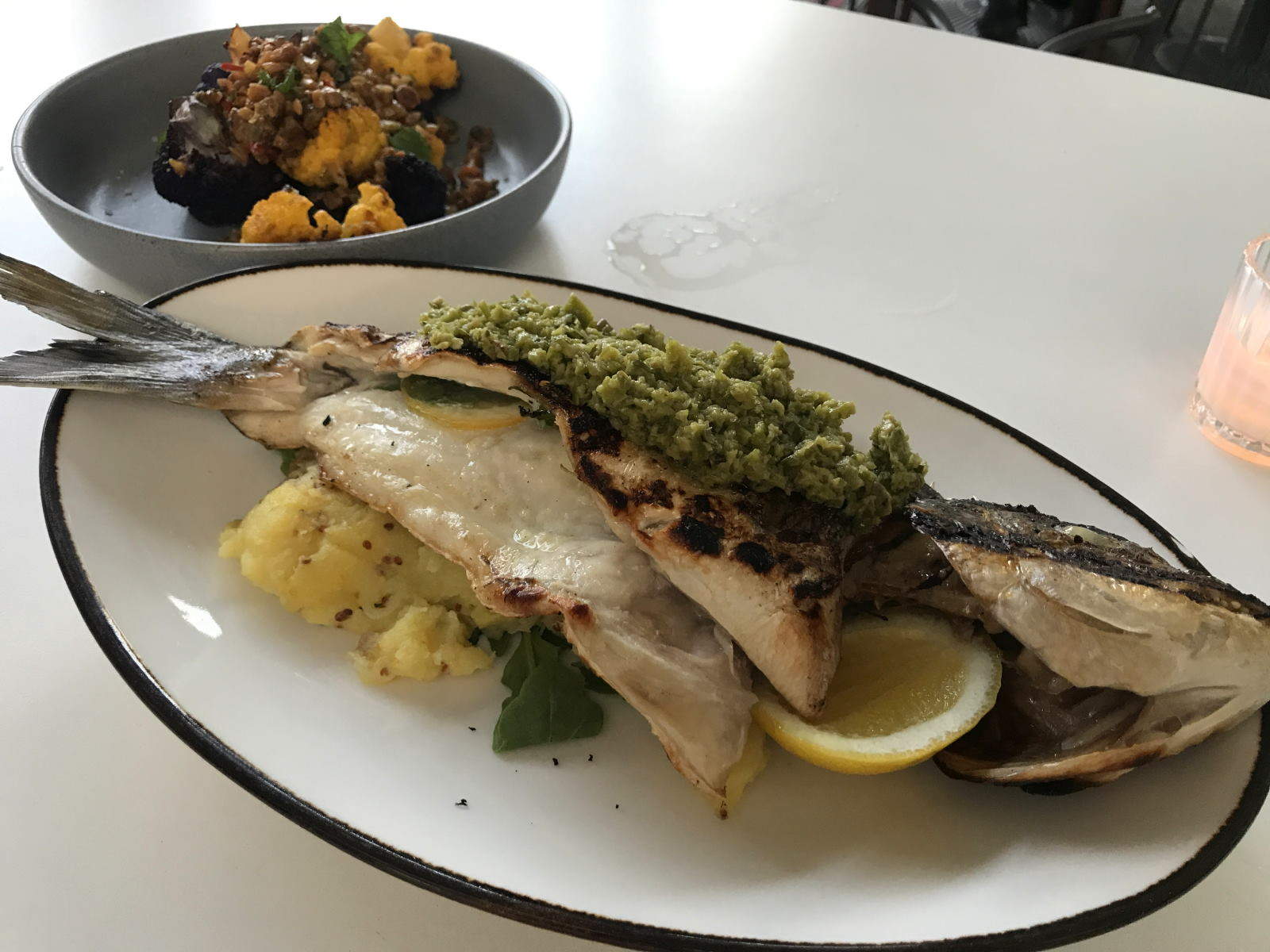 Grilled fish and cauliflower at Rossoblu