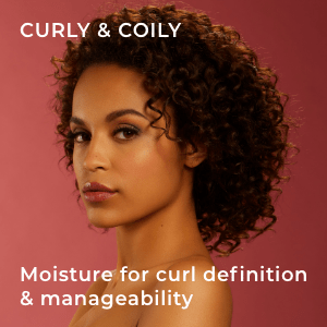 model with curly, coily hair