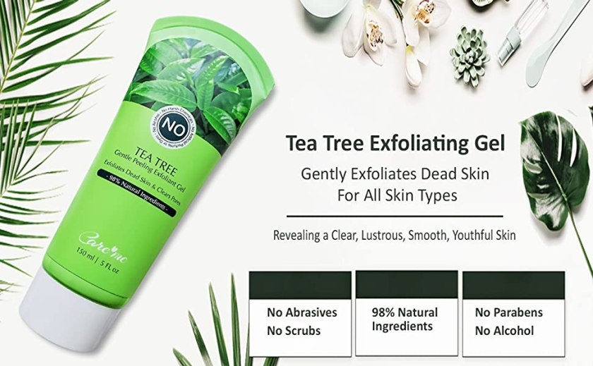 tea tree exfoliating exfoliant gel for clear acne pimple breakout dead skin remover exfoliator peel