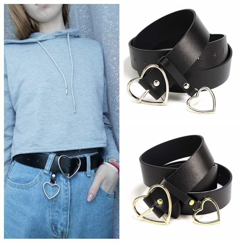 Women Vintage Style Casual Wear Metal Buckle PU Leather Thin Waist Belt S