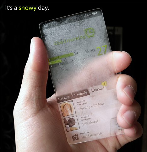 Completely Transparent Cell Phone Concept Designed by Seunghan Song (3)
