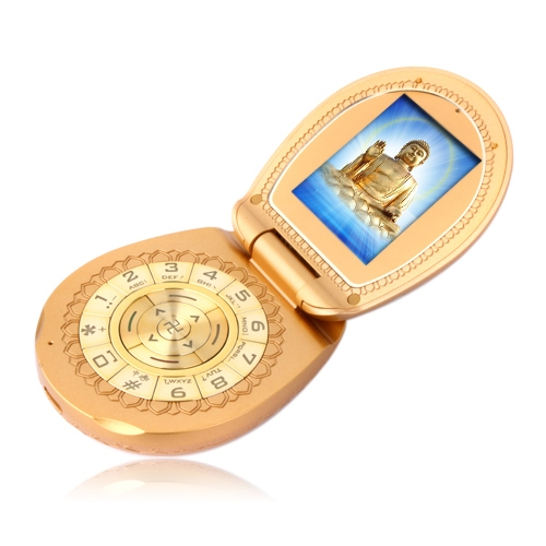 Golden Cell Phone in the Shape of a Compact Powder Case