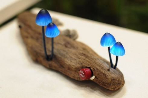 Mushroom Lights Growing From Reclaimed Wood
