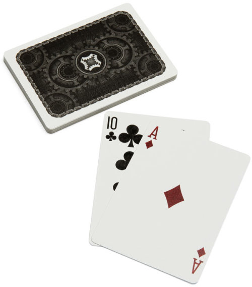 Playing Cards With Moving Gears and Chains