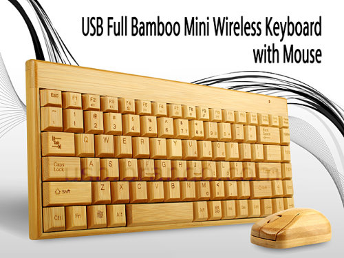 Mini Keyboard and Mouse Made From Bamboo