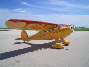 Monocoupe on short hop to Galesburg on Saturday