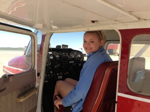 Madeline Norcross 1st solo pilots seat
