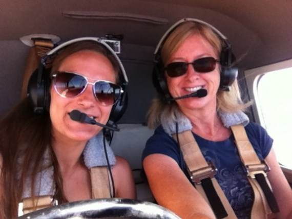Tiffany flying with friend, Lindsey Schulte!