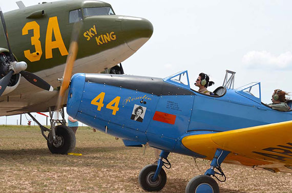 Julia Wood, pilot from the Cavanaugh Flight Museum and Kate Kyer UPS-757 Captain in a PT-19