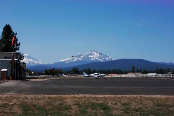 The view from the Sisters Eagle Airport ramp