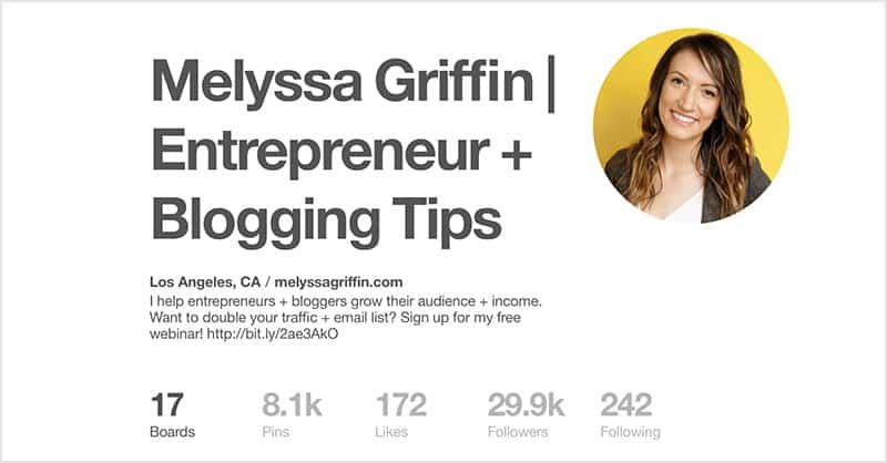 Melyssa Griffin Pinterest Profile