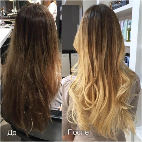 Растяжка цвета на волосах: модные техники окрашивания, 50 фото