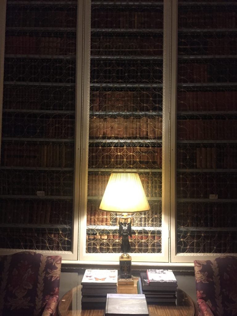 Hundreds of books on the shelves of the Library
