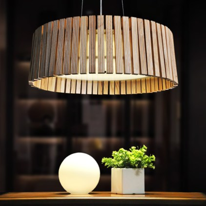 Nature-Wood-Pendant-Lamps-with-32W-55W-Energy-Saving-Light-Tube-Wooden-Bar-Drum-Pendant-Light