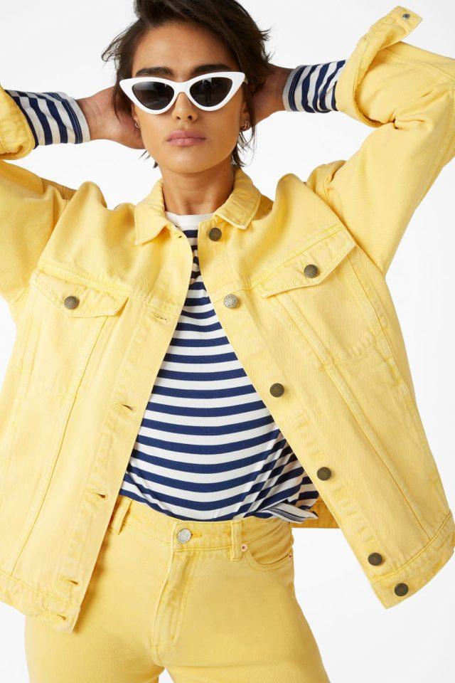 lemon yellow denim suit