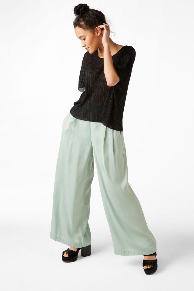 retro green flowy pants
