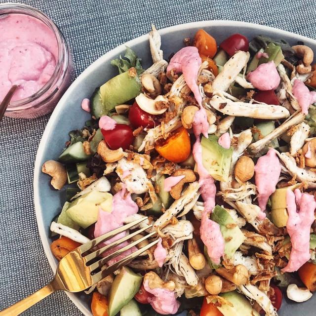 zomerse salade met framboos dressing