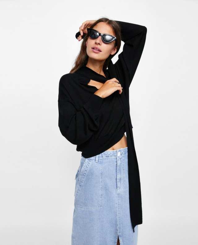 Zara top met gestrikte kraag
