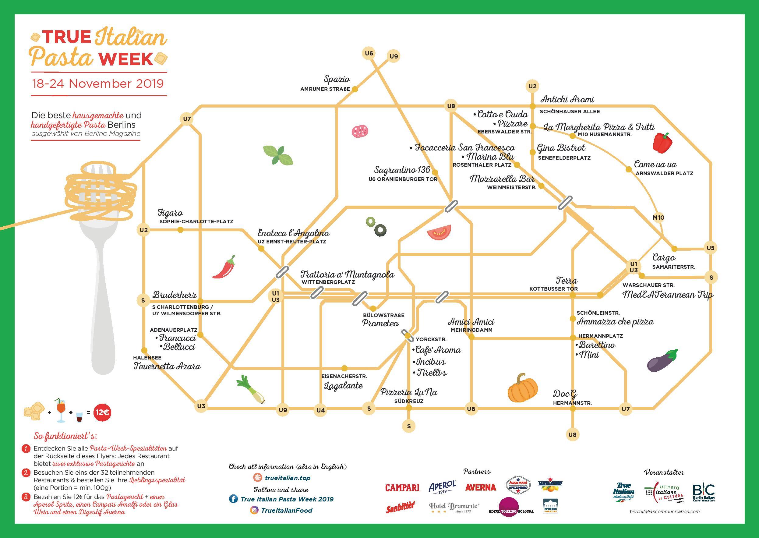 Mapa de la ciudad de Berlín con los restaurantes participantes del Pasta Week.
