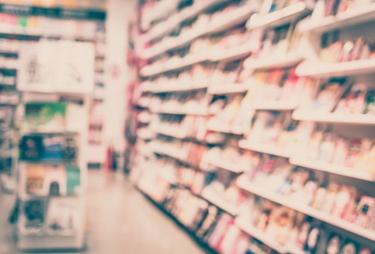 Blurred background - blurred a bookstore with bokeh. Vintage tone.