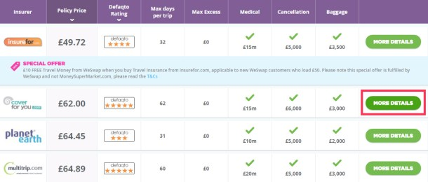List of Travel Insurance Quotes