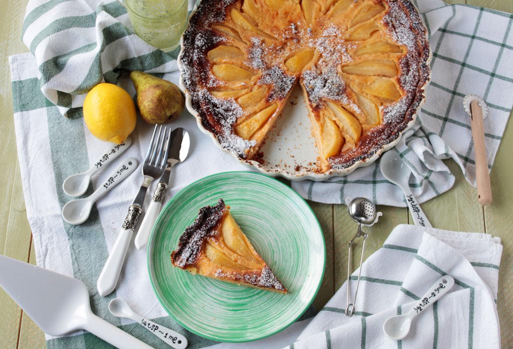 tarta de pera, jengibre y limón