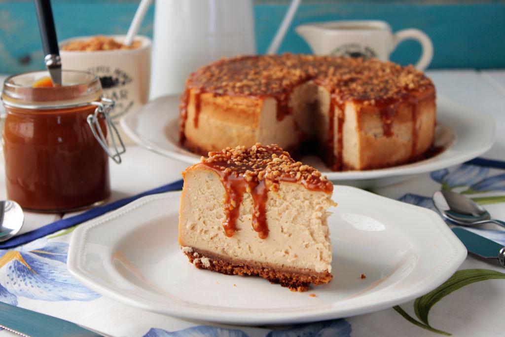 cheesecake de turrón y caramelo salado