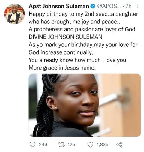 Apostle Suleman praises his prophetess daughter on birthday