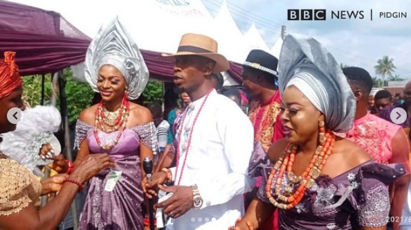 Video from the wedding ceremony of man who married two wives