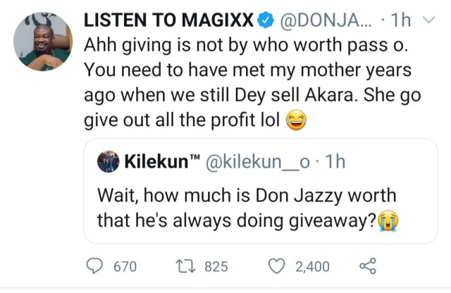 Don Jazzy replies follower who asked how much he is worth because of his plenty giveaways