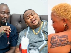 Obi Cubana, Chief Priest react as lady tattoos their names on her back