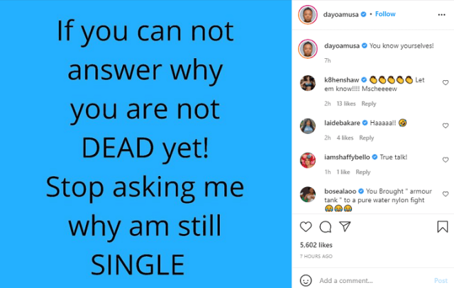 Dayo Amusa compares those asking why she is still single with death