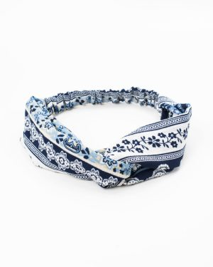 bandeau femme bleu motif fleurs