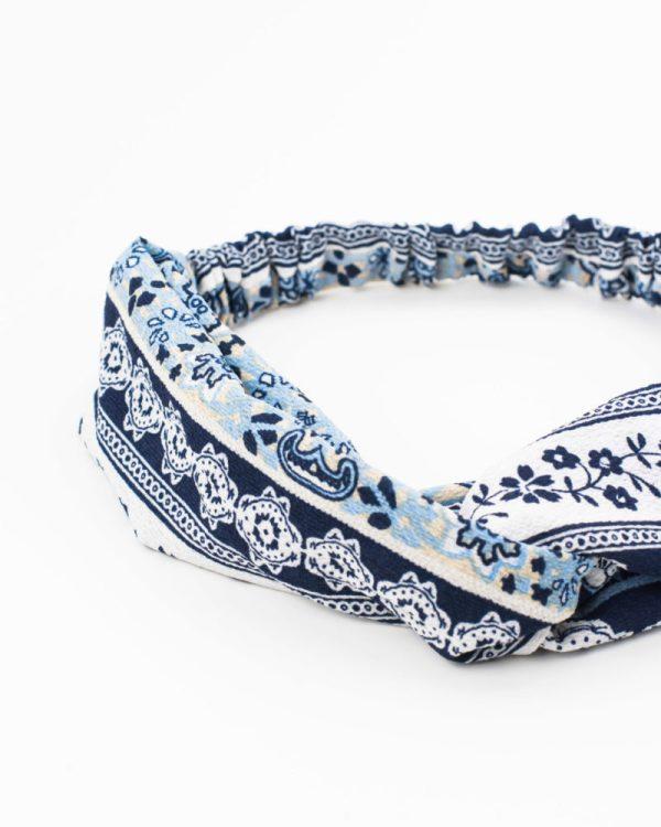 bandeau cheveux femme bleu motif fleurs