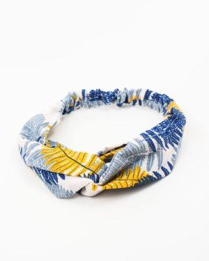 bandeau cheveux femme motif jungle bleu