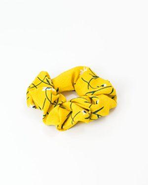 Chouchou cheveux femme jaune à fleurs blanches
