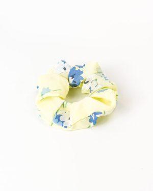 Chouchou cheveux femme jaune pastel à fleurs bleues
