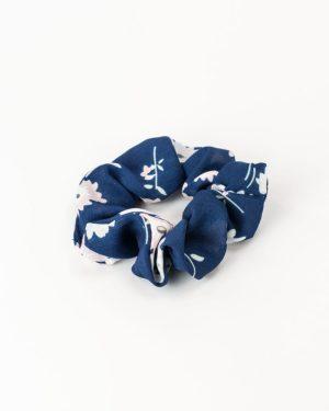 Chouchou femme bleu à fleurs blanches