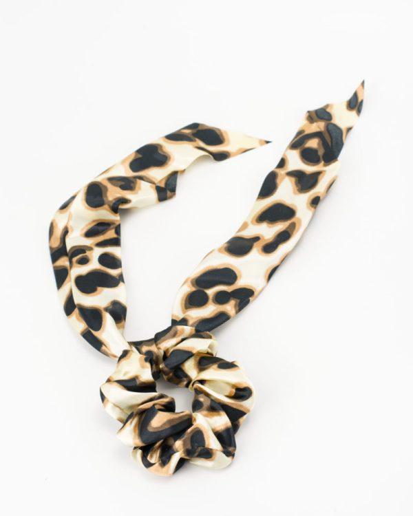 Chouchou foulard satin à motif léopard femme