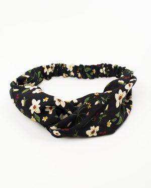 headband femme noir fleurs blanches