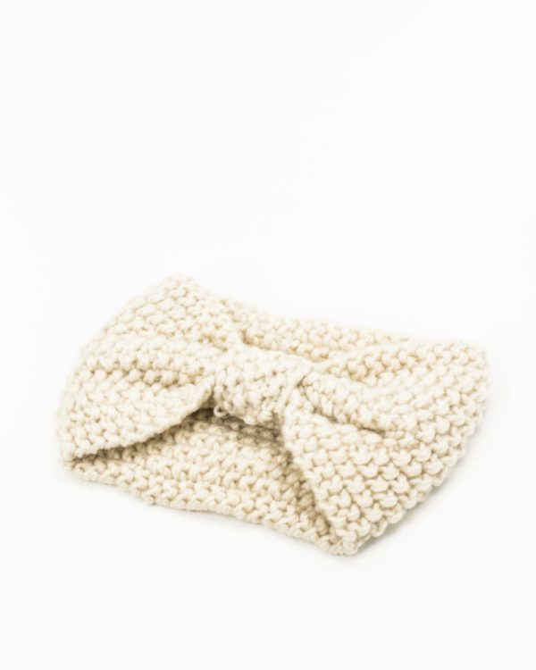 headband hiver maille crème