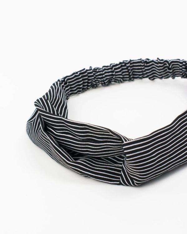 headband rayé gris et blanc