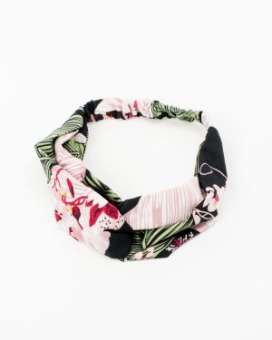 headband rose vert feuilles